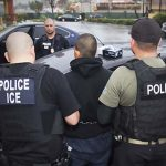 "This image obtained February 11, 2017 courtesy of the Immigration and Customs Enforcement (ICE) shows US Immigration and Customs Enforcement officers detaining a suspect during an enforcement operation on February 7, 2017 in Los Angeles, California.   US authorities arrested hundreds of undocumented migrants this week in the first large-scale raids under President Donald Trump, triggering panic in immigrant communities nationwide. The federal Immigration and Customs Enforcement agency rounded up undocumented individuals living in Atlanta, Austin, Chicago, Los Angeles, New York and other cities two weeks after Trump signed an executive order that broadened which undocumented immigrants would be targeted for deportation. According to ICE, however, the operations were ""routine.""